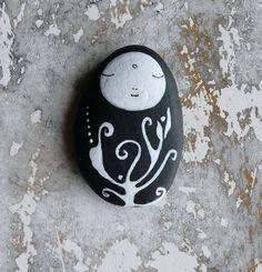 Flat Lightweight Black Beach Stone - Jizo Bodhisattva with Plant. via Etsy.