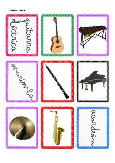 Tarjetas de instrumentos musicales Tabu, Playing Cards, Games, Ideas Para, Piano, Kids Songs, Teaching Supplies, Musicals, Preschool Music