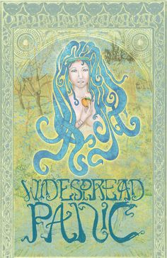 Widespread Panic c. 2010: the woman and the typography were hand-drawn, and the ethereal background was composed of several Van-Gogh paintings.