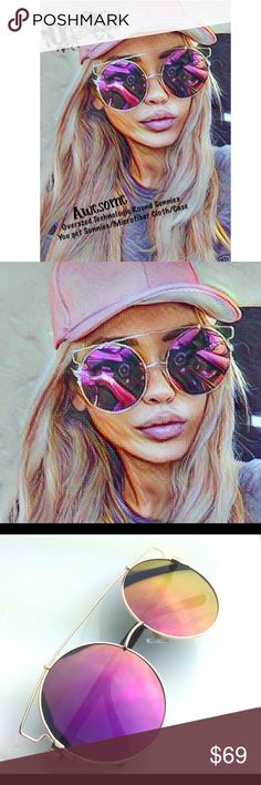 """🆕 OVERSZD Technologic Metal Sunnies Round XXL👓 🆕 OVERSIZED Technologic Women Sunglasses Metal Big Round SUNNIES XXL/LOOK AWESOME UR sure 2 get the attention of ALL that CU wearing these! Round Overszd Huge Circles set in a Metal Cateye Cage frame! 6""""Wide/2.7""""Lens Hgt/0.7""""Bridge/5""""Arms/w microfiber cloth+case/👓    Photobucket   Techno Style ♦ New with Tags ♦ Hand Polished ♦ 100% UV Protection  across temples         lens height         nose bridge         arm length  6.0 """" (150 mm)…"""