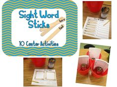 10 Popsicle stick centers for sight words or spelling words!  Word Work!