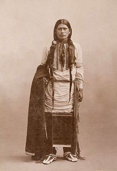 An old photograph of a Young Southern Cheyenne Man 1895.