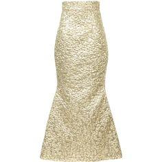 Bambah metallic fishtail skirt ($1,044) ❤ liked on Polyvore featuring skirts, metallic, long brown maxi skirt, high waisted flare skirt, long fishtail skirt, metallic skirt and long flared skirt