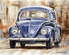 Title 1960 Volkswagen Beetle Artist Joey Agbayani Medium Painting - Acrylic On Canvas