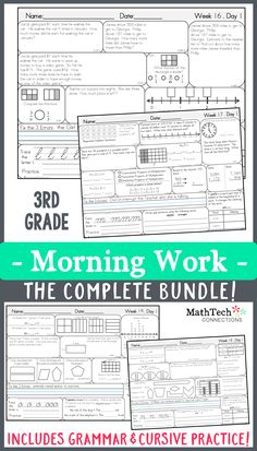 3rd grade morning work - common core aligned - 36 weeks. Include grammar and daily cursive! ALSO INCLUDED: a back to school week, reviews all 2nd grade math standards, introduces 4th grade standards AND an end of the year week of activities!