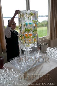 Newport Wedding at Oceancliff - Armor & Martel Ice luge from brilliant ice