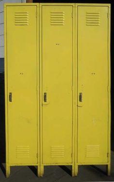 Vintage Citrus Yellow Storage Lockers by DustysRustyLockers
