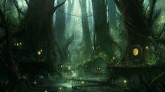 Elf Lovers infantasy landscapes | Village in the forest深い森の中にある村の壁紙