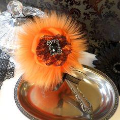 Puff Wand  orange powderpuff  orange and black by BonnyBubbles, $16.95