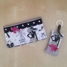 """Duo porte-chéquier et porte-clés rétro """"la parisienne"""" en lin beige lamé et tissu à pois : Porte-monnaie, portefeuilles par nymeria-creation"""