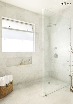 Glass wall shower enclosure with no shower dam... Seamless flooring and transition to wall tiles