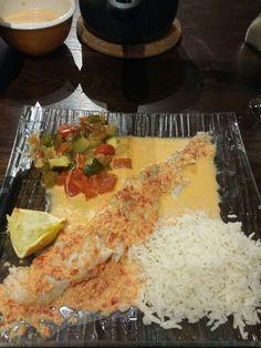 Filet de Cabillaud  au coulis de poivron, ses légumes vapeur et son riz
