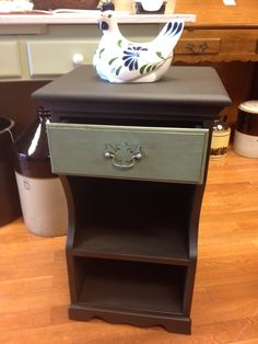 Night stand painted using Chalk Paint® decorative paint by Annie Sloan. Graphite and Provence.