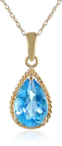 14K Yellow Gold  Swiss Blue Topaz Drop Pendant Necklace 18 >>> Learn more by visiting the image link.Note:It is affiliate link to Amazon.