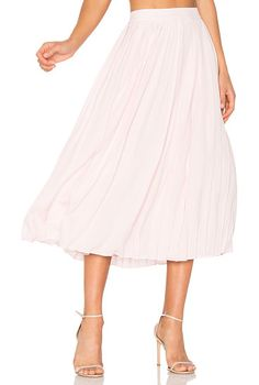 Pleated Midi Skirt by Anine Bing. Self: 100% silkLining: 100% viscose. Dry clean only. Pleated detail. Hidden back zipper closure. Skirt measures appro...