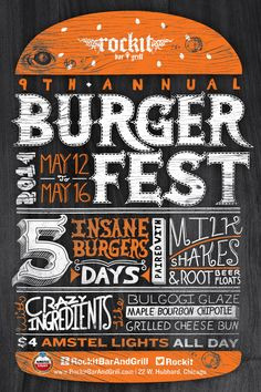 Rockit Burger Fest poster with hand drawn type. Designed by Anthony Maro - Rockit Burger Fest poster with hand drawn type. Designed by Anthony Maro - Festival Logo, Beer Festival, Festival Posters, Food Festival, Food Poster Design, Event Poster Design, Menu Design, Restaurant Poster, Restaurant Branding