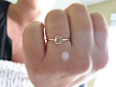 White Topaz 14k Gold Ring, Engagement Ring, Rose Cut Gemstone Ring, Topaz Stacking Ring, Gemstone Ring, Stack Ring, 14kt Yellow Gold