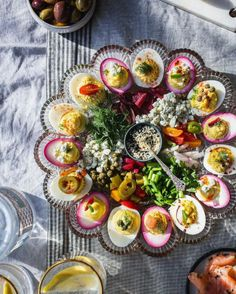 Deviled Egg Platter recipe by Shelly Westerhausen Easter Appetizers, Thanksgiving Appetizers, Appetizer Recipes, Thanksgiving Recipes, Deviled Egg Platter, Deviled Eggs, Food Network, Crudite, Antipasto