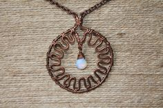 Wire-Wrapped Pendant with faceted Moonstone in Oxidized Copper Wire by TwistedWireCraft on Etsy Antique Copper, Copper Wire, Washer Necklace, Pendant Necklace, Take A Shower, Wire Wrapped Pendant, Wire Wrapping, Chain, Antiques