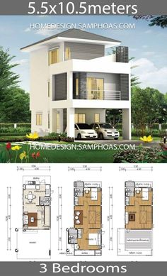 Bathroom Floor Plan Beautiful Small House Design Plans 5 with 3 Bedrooms Home Ideas Narrow House Plans, Duplex House Plans, 2 Bedroom House Plans, Home Building Design, Home Design Plans, House Building, Beautiful House Plans, Beautiful Homes, Modern Small House Design