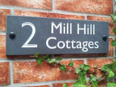 Deep V-cut engraved Slate House Signs - natural dark grey slate stone with 3 different paint inlay colours for House Numbers, House Names or Address Plates Slate House Numbers, Front Door Numbers, House Number Plates, Name Plates For Home, House Name Signs, House Names, Home Signs, Name Plate Design, Name Design