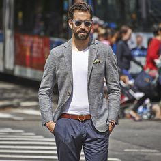 """Via @suitsupply: """"Don't limit yourself to button-ups: pair a lightweight jacket with a light colored T-shirt & our Baldwin Denim to give your summer look some laid-back appeal."""""""
