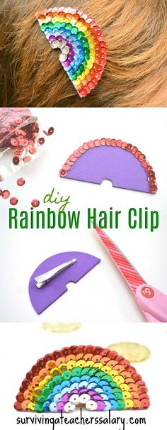 This sequin rainbow hair clip is gorgeous and crazy easy to make. I never thought of using craft foam! Perfect for st. patrick's day and art festivals! I love the bright colors. She has a step by step photo tutorial so you can see exactly how to make your own hair clip. Cute idea for teachers student badges and clothespins too.