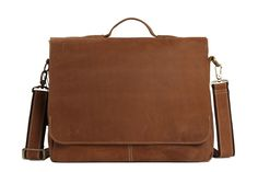Image of 14'' Vintage Leather Briefcase Messenger Bag, Laptop Bag, Men's Bag 7108