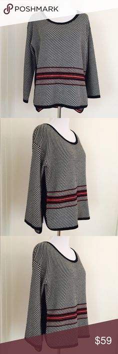 RAG  & BONE Merino Wool Sweater •MSRP $395 •Black, white, pink diagonal and horizontal stripes. •Slit sides •99% Merino Wool  I AM ALSO LISTING THE MATCHING SKIRT. I am consigning this for a client. She has given me tons of other Rag & Bone pieces. I am adding them day by day. Please check out my store :) rag & bone Sweaters