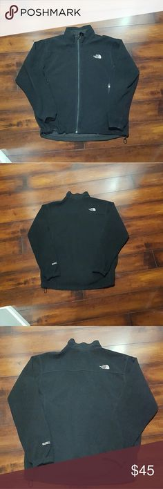 Men's black The North Face fleece jacket, large Men's black The North Face fleece jacket, size large. No outside stains or tares. The inside left pocket is cut, if you can sew it's an easy fix to a nice coat. The North Face Jackets & Coats
