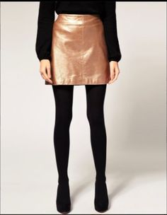 Oasis gold leather skirt size 10