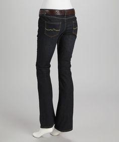 Love this Dark Blue Wave Stitch Belted Jeans - Women on #zulily! #zulilyfinds