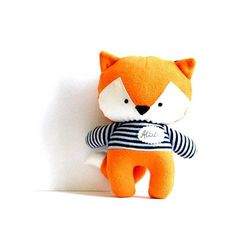 Fox with name plate foxy rag doll with navy blue and white