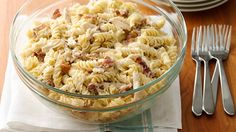 Make-Ahead Chicken Bacon Ranch Pasta: added frozen peas at the end. It took me about an hour total to cook bacon & pasta, shred chicken and mix all ingredients in a bowl.