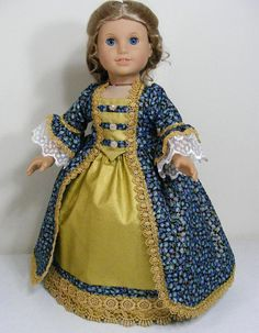 American Made Blue/Gold Dress fits Popular 18 inch Girl Doll