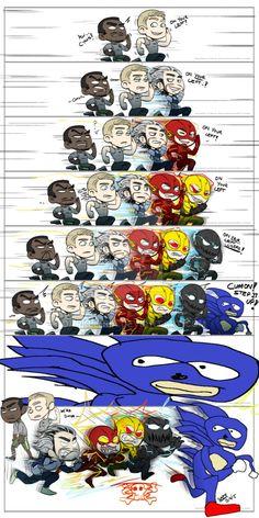 Funny memes Sonic always wins. Avengers Humor, Marvel Jokes, Funny Marvel Memes, Dc Memes, Crazy Funny Memes, Really Funny Memes, Funny Relatable Memes, Marvel Heroes, Funny Comics
