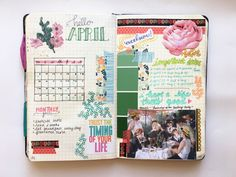 "moirajournals: "" Happy April! This is a new monthly format and I like it better than my previous one. Because it's spring, I wanted to make it colorful and include a lot of floral. I'm pretty happy with it ☺  follow my Instagram  """