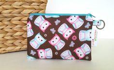 Zipper Pouch, Coin Purse Keyring Wallet Owls by littlemisspobean. Explore more products on http://littlemisspobean.etsy.com