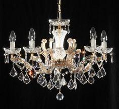 KRONLEUCHTER 5-armig gefertigt mit SPECTRA® Crystal von SWAROVSKI 24karat echt vergoldet: Amazon.de: Beleuchtung