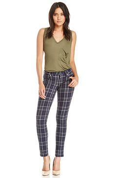 Genetic Denim Shya Plaid Skinny Jeans in Navy 24 - 29 | DAILYLOOK
