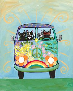 Hippie Love Bus Peace CATS Original Cat Folk Art by KilkennyCatArt