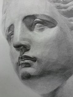 비너스 Academic Drawing, Academic Art, Drawing Studies, Pencil Sketch Drawing, Pencil Drawings, Art Drawings, Drawing Heads, Painting & Drawing, Still Life Drawing
