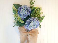 Blue hydrangea door bouquet. Summer wreath,wreath alternative. wreath for summer. by YourHandmadeWreath on Etsy https://www.etsy.com/listing/204999203/blue-hydrangea-door-bouquet-summer