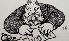 Redaktør Syvertsen i Trangvikposten i Theodor Kittelsen sin strek. (Wikimedia)