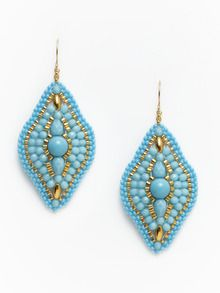 Turquoise & Gold Beaded Curved Drop Earrings by Miguel Ases