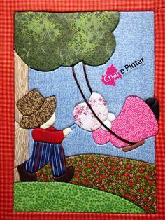 Caderno grande patchwork embutido
