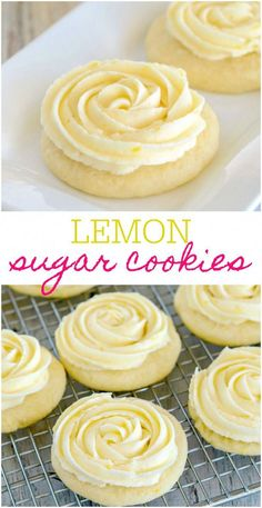 Key: 8777049624 These Lemon Sugar Cookies are buttery and soft, with the perfect hint of lemon. The lemon frosting makes them over the top delicious. A perfect cookie recipe for lemon lovers! Lemon Desserts, Lemon Recipes, Cookie Desserts, Fun Desserts, Sweet Recipes, Recipes For Lemons, Cookie Favors, Cookie Bakery, Cod Recipes