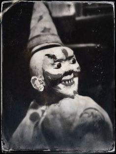 Schoenhut Wooden Circus Clown, ca. 1920s-1930s.   From collection of Terry Castle.  Altered photograph © Terry Castle, 2015.