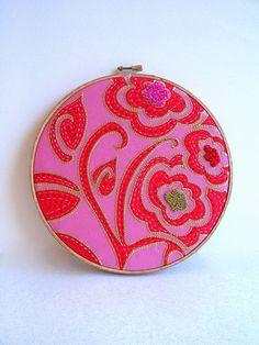 Pink and Red Designer Fabric embroidery hoop wall by HelloHorizon, $44.00