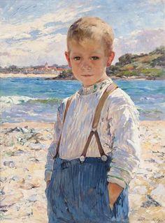 A Boy on the Beach - Marie Aimée Lucas-Robiquet (French, 1858-1959)
